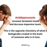 Antidepressants (SSRIs) increase Serotonin levels and decrease dopamine levels. This is the opposite chemistry of someone who is in love.